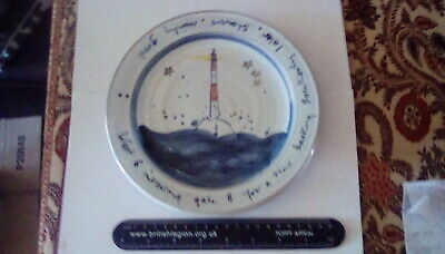 Interesting Hand Made & Painted Studio Pottery Plate. Possibly Cornish, Mark VW. • 12£
