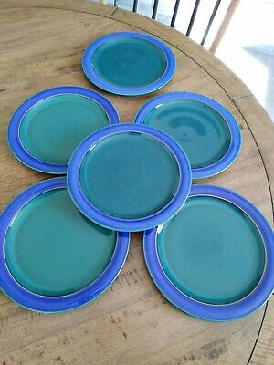 Denby Metz Salad Plates Blue Green In Very Good Condition With Very Minimal... • 24.99£