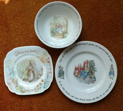 Peter Rabbit Wedgwood Bowl And Two Plates • 24£