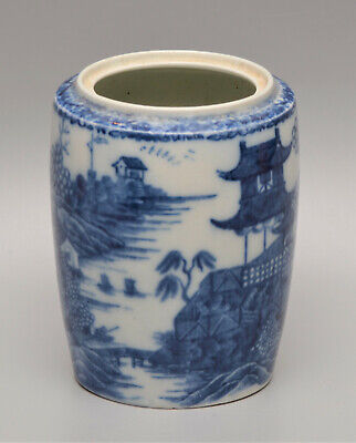 Rare WORCESTER Or CAUGHLEY Willow Pattern TRANSFER PRINTED Blue & White JAR • 17£