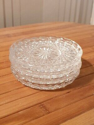 ●●4 Vintage Round Clear Glass Coasters  Free Postage   • 18.95£