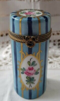 Vintage Limoges Porcelain Trinket Box/Needle Case Hand Painted Mark On Base • 17.99£