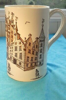 Large Leedsware Classical Creamware Tankard With Rope Handle Depicting Castle • 30£