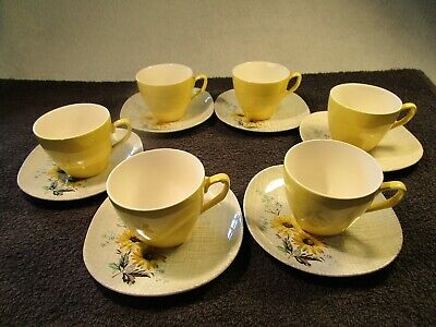 6 Vintage J & G Meakin Sol Design Yellow Cups And Saucers • 12.95£
