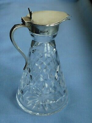 1950's Solid Silver & Glass Whisky Noggin Small Water Jug Whiskey Decanter 161g • 34£