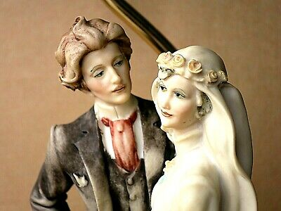 RARE 1984 G.ARMANI Florence BRIDE And GROOM TABLE LAMP SIGNED H=33 Cm • 48.99£
