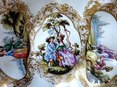 18th Century MEISSEN Porcelain Hand Painted DISH COURTING COUPLE CROSSED SWORDS • 97.99£