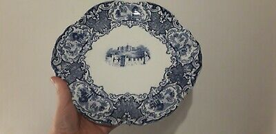 George Jones Abbey Or Castle Blue & White Cake Plate • 14.99£