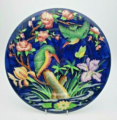 Vivid Art Deco Maling Tube Lined Kingfisher Plate / Plaque - Perfect • 29.99£