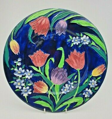 Vivid Art Deco Maling Tube Lined Tulip Plate / Plaque - Perfect • 29.99£