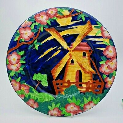 Vivid Art Deco Maling Tube Lined Windmill Plate / Plaque - Perfect • 29.99£