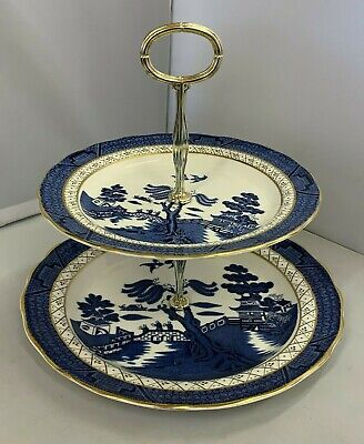 UNUSED Royal Doulton Booths Real Old Willow 2 Tier Cake Stand - TC 1126 • 16.99£