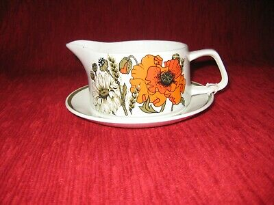 Vintage Meakin 'Poppy' Sauce Boat On Saucer • 5£