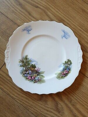 ■■royal Vale China Thatched Cottage Scene Cake Plate  Free Postage  • 19.95£