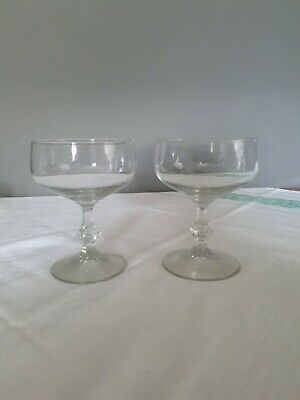 Pair Of Vintage Glass Champagne Coupes Saucers Bowls Glasses-superb Quality  • 6£