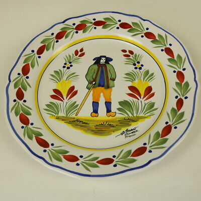 Henriot Quimper Faience Wall Plate #33  -Campagne Breton Man - 25.5cms - Unusual • 30£