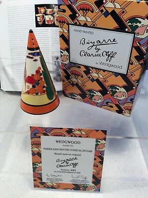 Clarice Cliff Wedgwood Ltd Ed Of 500  - Trees & House Conical Sugar Shaker • 59£