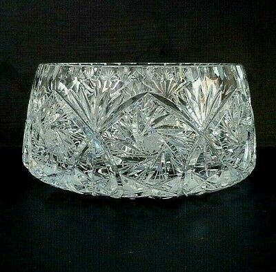 Heavy Cut Crystal Fruit / Trifle Bowl - Pinwheel Base & Sides - 20 Cm (8 ) Dia'r • 14.99£