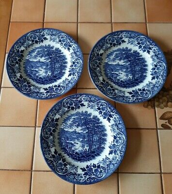 3 Broadhurst Ironstone Dessert / Breakfast Plates The English Scene -20½cms (8 ) • 4.99£