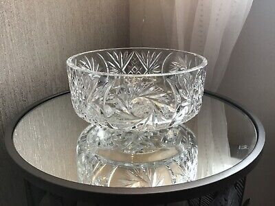 Large Vintage Crystal Bowl Large Gorgeous Cut Glass Footed Bowl Stunning • 25.99£