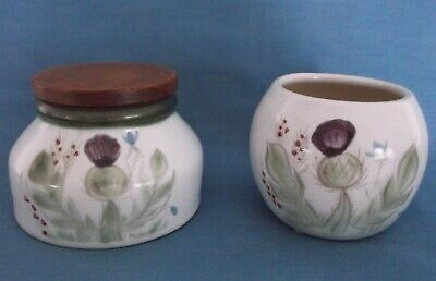 Buchan Thistle Stoneware Pottery Scotland Lidded Pot & Open Trinket Bowl Pot • 24.99£