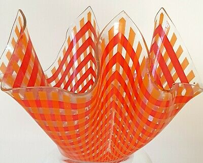 7 Inch Chance Gingham  Glass Handkerchief Vase See All Pics As Description • 25£
