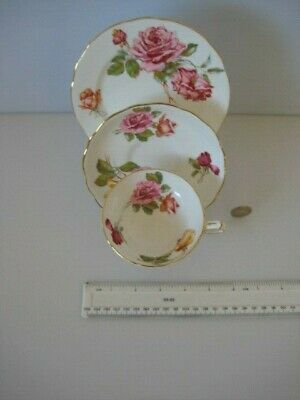 Superb Rare Hammersley China England Cabinet Cup Saucer And Plate Trio Roses • 139.99£