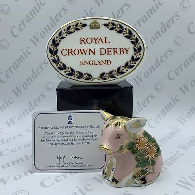 Royal Crown Derby Sinclairs Pickworth Piglet Paperweight - Gold Stopper A/F • 11.50£