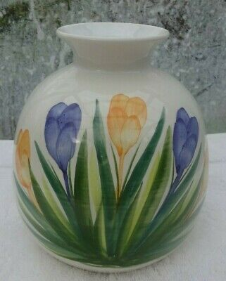 Vintage Cinque Ports Pottery Rye Large Round Vase With Crocus Flowers • 4.99£