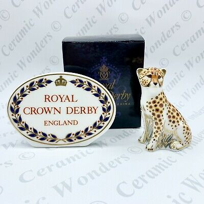 Royal Crown Derby Cheetah Cub Paperweight - 1st Quality - BOXED - Gold Stopper • 64£