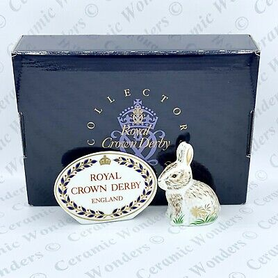 Royal Crown Derby Nibbles Rabbit Paperweight - Boxed - 1st Quality Gold Stopper • 39£