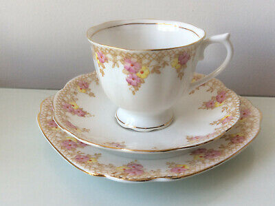 Pretty Vintage Royal Albert Tea Cup Trio In Pink And Yellow Trellis Pattern • 8.99£