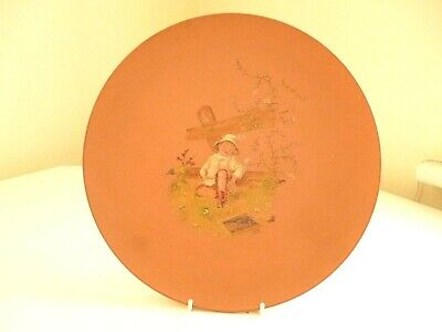Antique Terracotta Hand Painted 11  Plate By Watcombe Pottery : Initialled AR • 29£