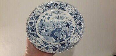 Wedgwood Antique Blue & White Pearlware Plate Chinese Garden 1807-15 • 39.99£