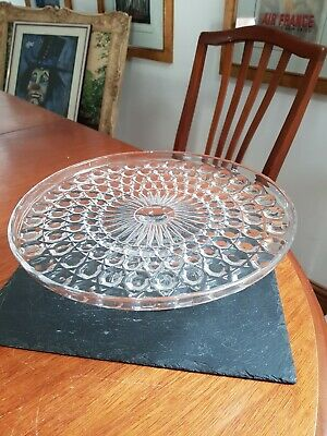 Vintage Pressed Glass Footed Cake Stand  • 14.99£