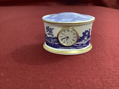 Spode  Fine China Collectable Clock  Battery Miniature Blue And White A4 • 35£