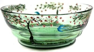 Art Deco Glass Fruit Bowl Painted Birds And Blossoms Circa 1930 • 85£