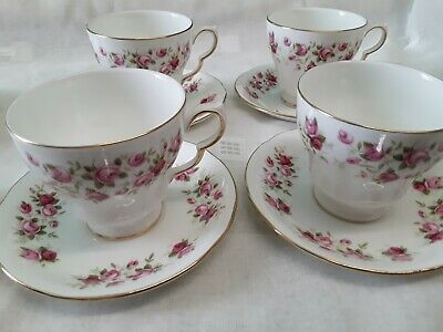 4 X Colclough Cascade Roses Tea Cups And Saucers  • 8£