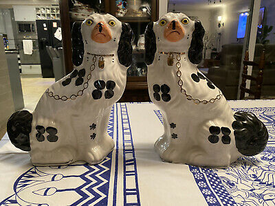 """Pair Of Vintage Arthur Wood Spaniel Dogs ~ Mantel / Wally Dogs 11"""" • 40£"""