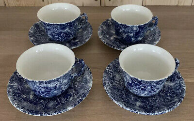 Four Laura Ashley Blue And White Chintz Ware Cups And Saucers • 50£