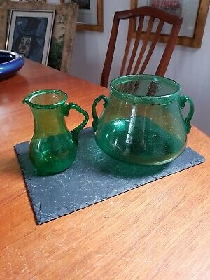 Antique 17th Century Rustic Folded Rim (Slightly Wrythen) Green Glass Jug & Bowl • 199.99£