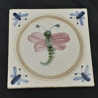 Vintage RYE POTTERY Handpainted DRAGONFLY TILE • 15£