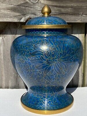 "Vintage Clossione Temple Jar Urn Ginger Blue Lotus Flower 9.5"" Enamel • 21.75£"