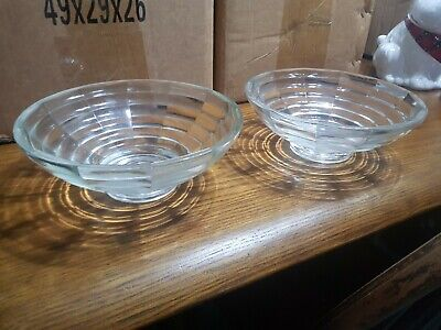 Pair Of Matching Ribbed Design Glass Bowls • 0.50£