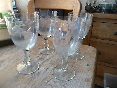 Four 18th Century Grape Vine Design Engraved Wine Glasses With Pontil Mark • 45£