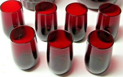 7 Glasses - 3 1/2 In Tall - Royal Ruby Red Glassware - Anchor Hocking (359) • 15.42£