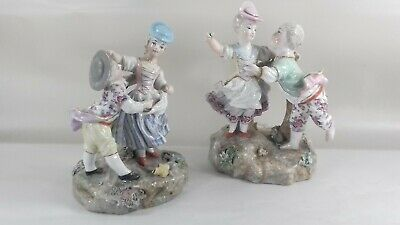 Antique Dresden Porcelain Courting Couples Crossed Swords • 120£