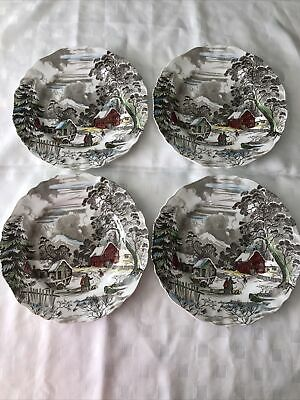 """J & G Meakin English Staffordshire 4X Vintage 91/2"""" Dinner Plates """"Welcome Home"""" • 20£"""
