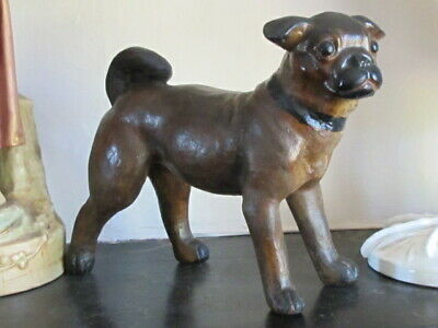 Antique Victorian Solid Terracotta Pottery Pug Dog Austrian English Handpainted • 395£