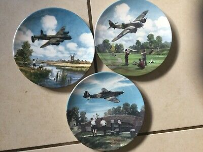 RETRO 3 HEROES OF THE SKY ROYAL DOULTON COLLECTORS PLATES 8 Inch DIA LTD EDITION • 9.99£